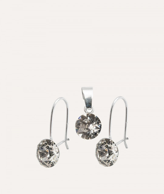Set of Xirius Wire: earrings + pendant, Crystal Clear