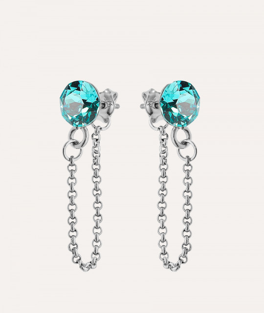 Earrings Xirius Chain, Light Turquoise