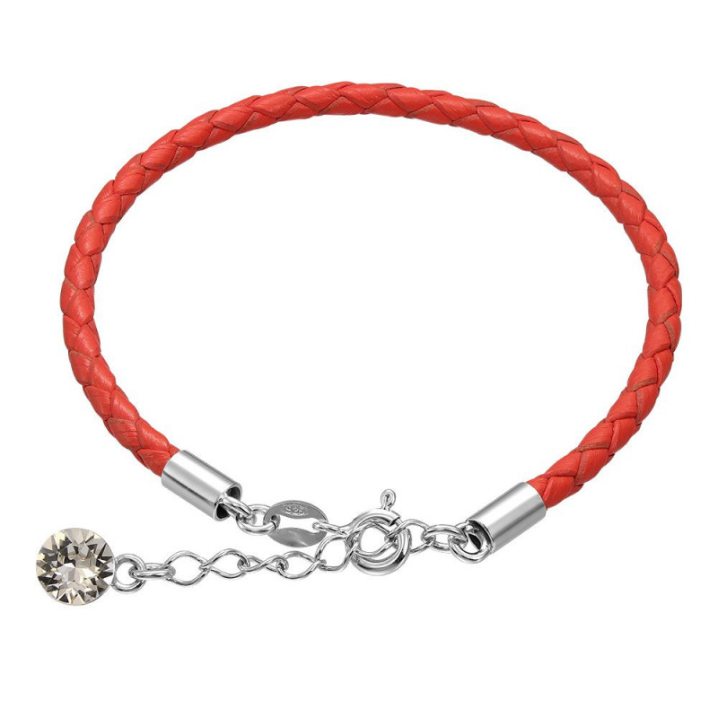 Leather bracelet with Swarovski crystal, Coral