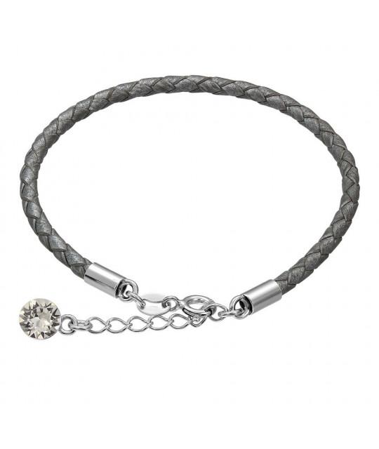 Nahkarannekoru Swarovskin kristallilla, Gray
