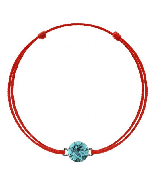 Punainen kabbala Swarovski Xirius kristallilla, Blue Zircon