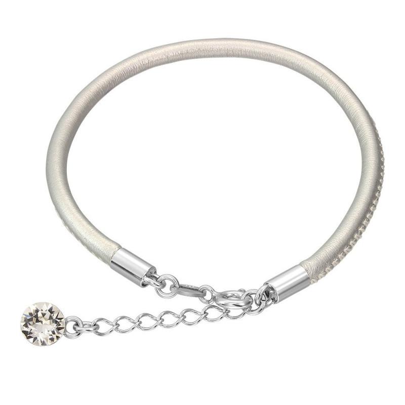 Leather bracelet with Swarovski crystal, Silver