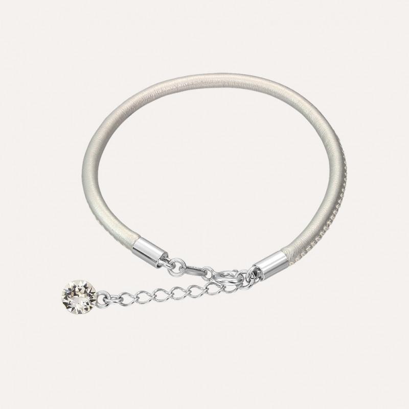 Кожаный браслет с кристаллом Swarovski, Silver