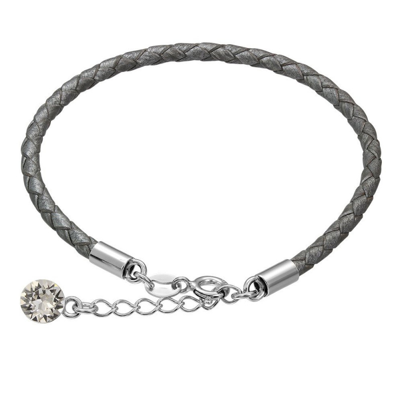 Leather bracelet with Swarovski crystal, Gray