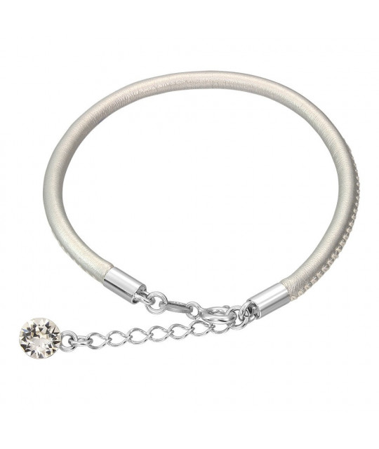 Leather bracelet with Swarovski crystal, Silver