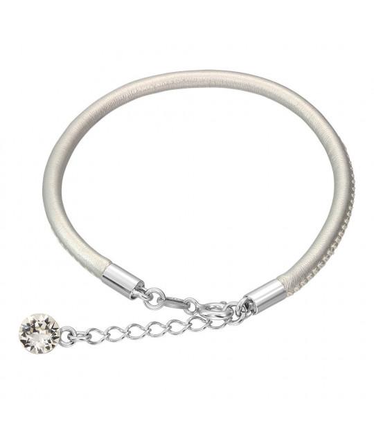 Nahk käevõru Swarovski kristalliga, Silver