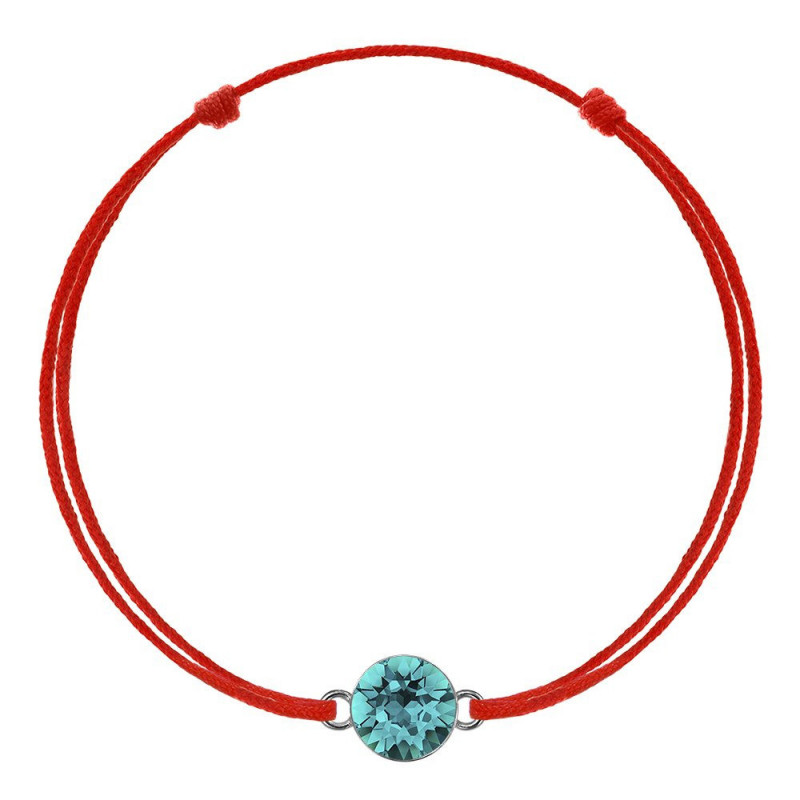 Red kabbalah with Swarovski Xirius crystal, Blue Zircon