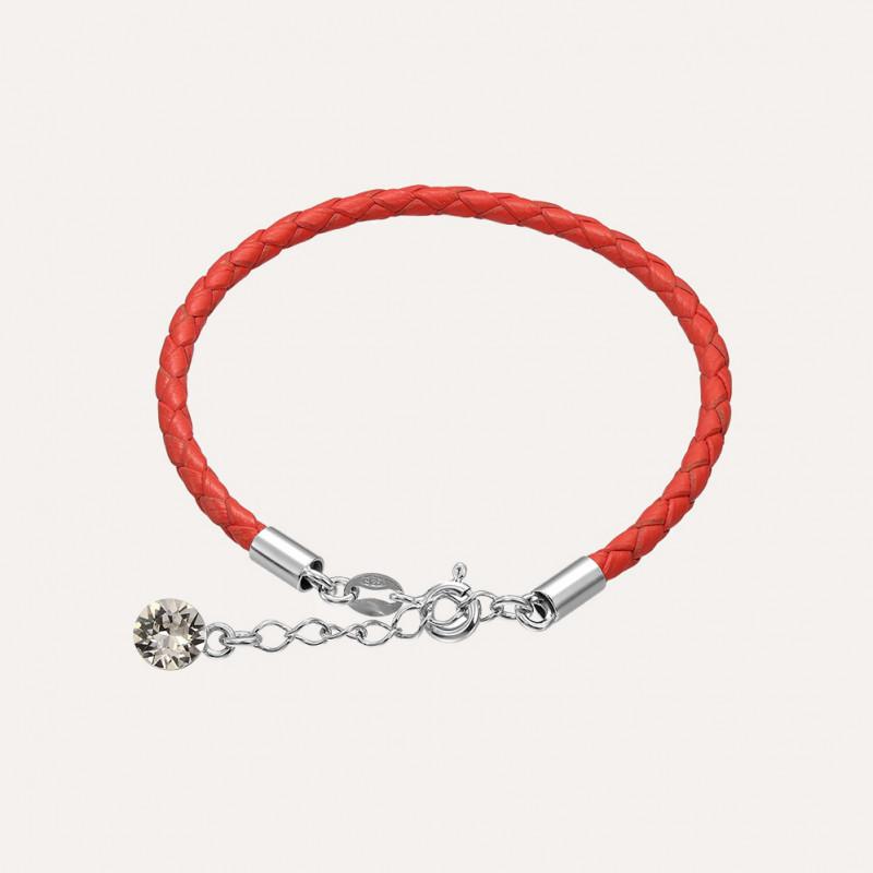 Кожаный браслет с кристаллом Swarovski, Коралловый