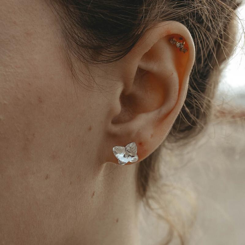 Earrings Butterfly, Crystal Clear