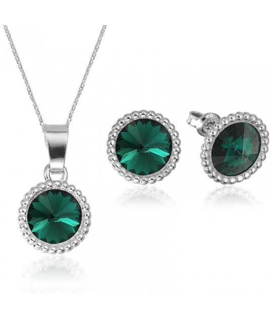 Komplekt Rivoli Crown: kõrvarõngad + ripats ketiga, Emerald