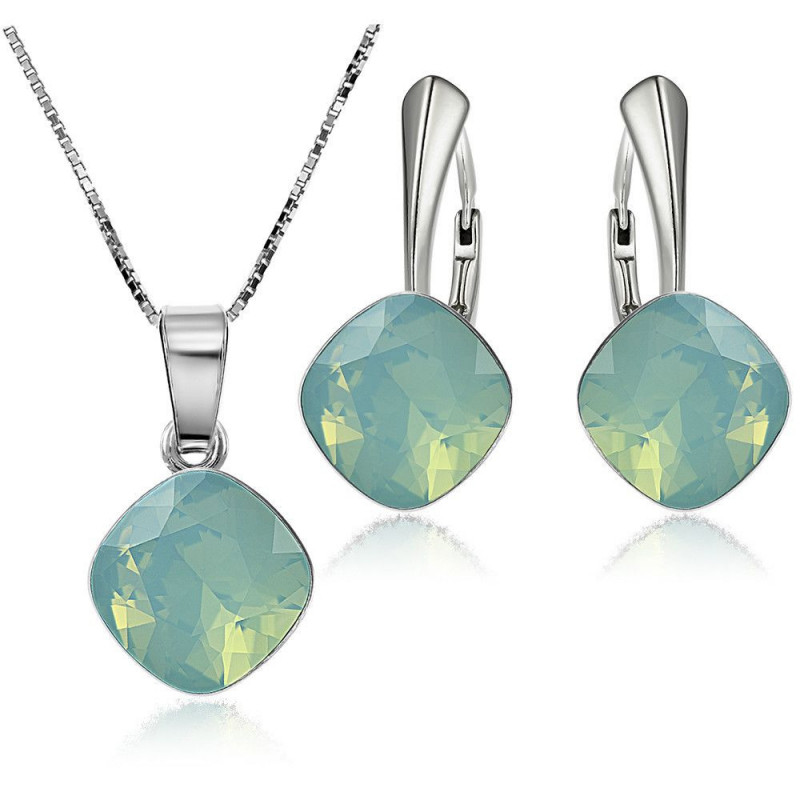 Set of Princess Square: earrings + pendant with chain, Pacific Opal