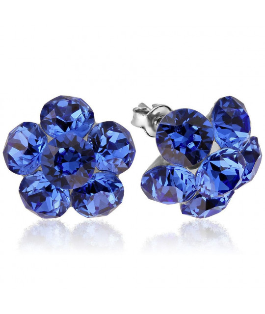 Earrings Xirius Flower, Sapphire