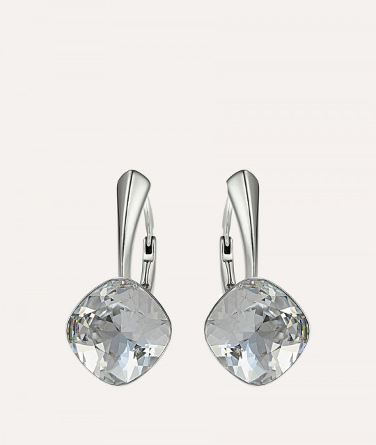 Earrings Princess Square, Crystal Clear