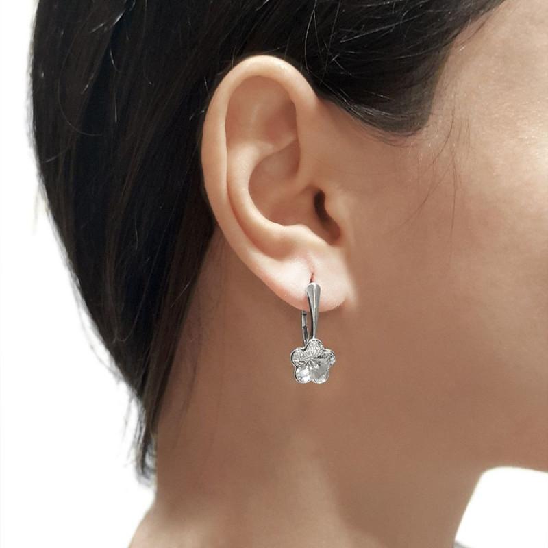 Earrings Flower, Aquamarine