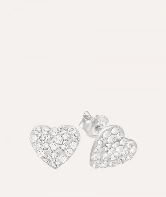 Earrings Chaton Heart, Crystal Clear