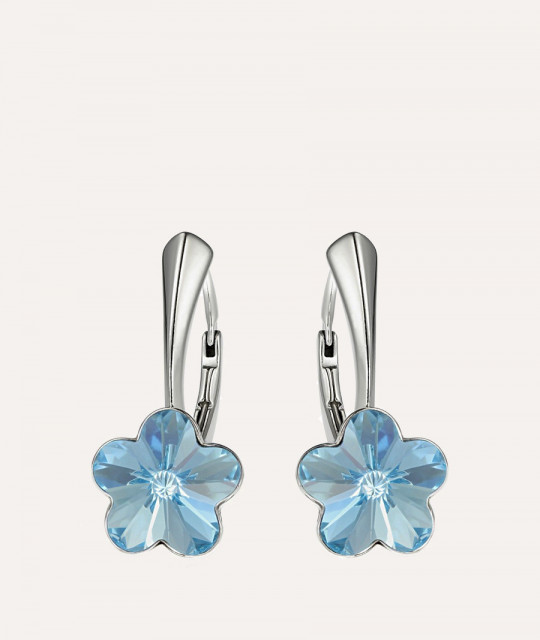Earrings Flower, Aquamarine