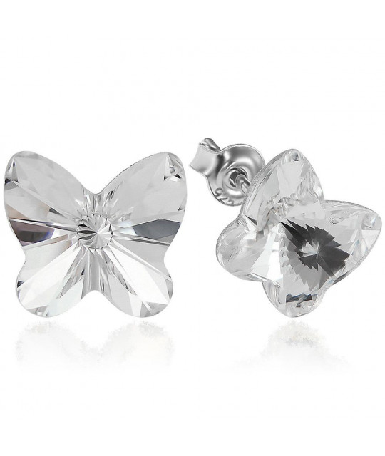 Earrings Butterfly, Crystal Clear