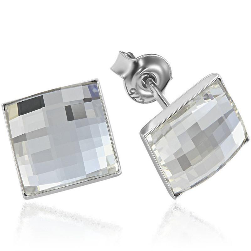 Earrings ChessBoard, Crystal Clear