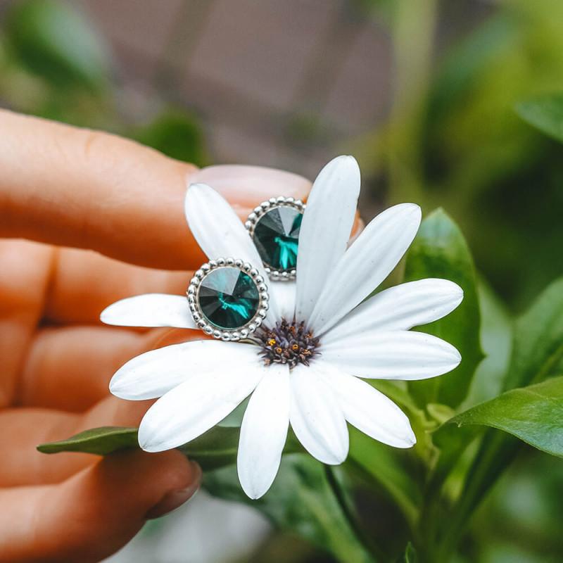 Auskarai Rivoli Crown, Emerald