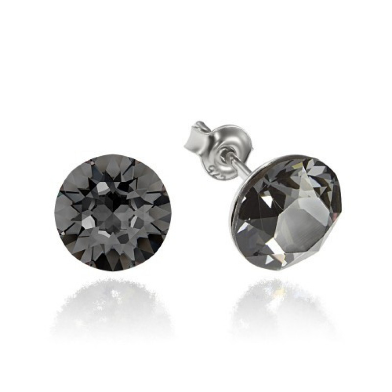 Earrings Xirius, Silver Night, 8 mm