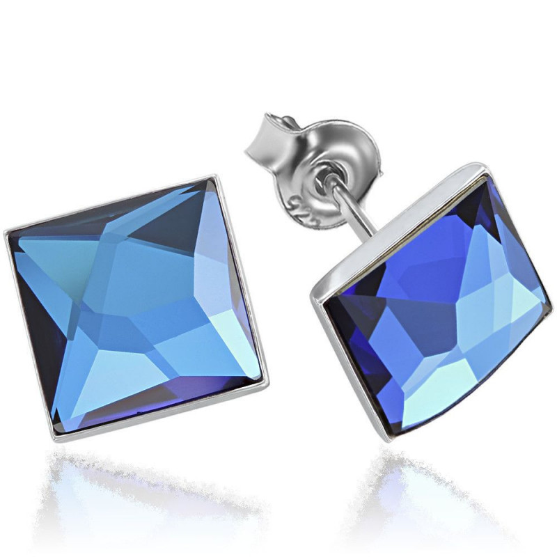 Earrings Square, Bermuda Blue