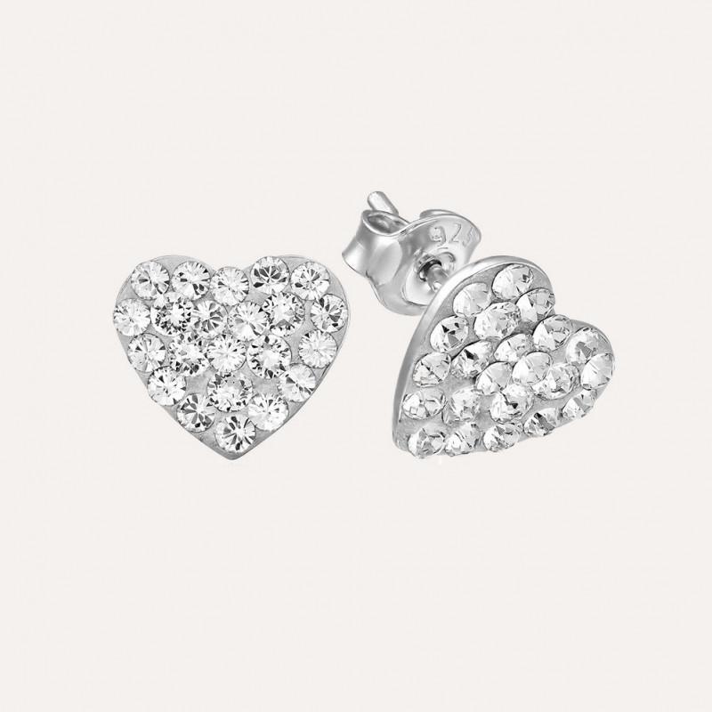 Earrings Chaton Heart, Crystal Clear