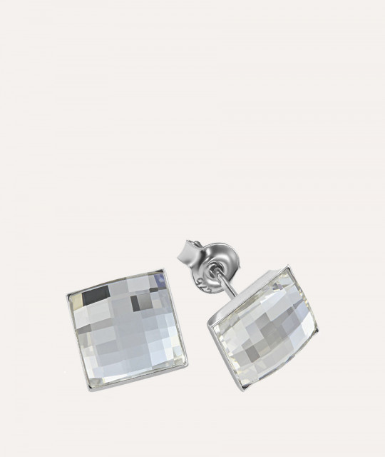 Earrings ChessBoard, Crystal Clear