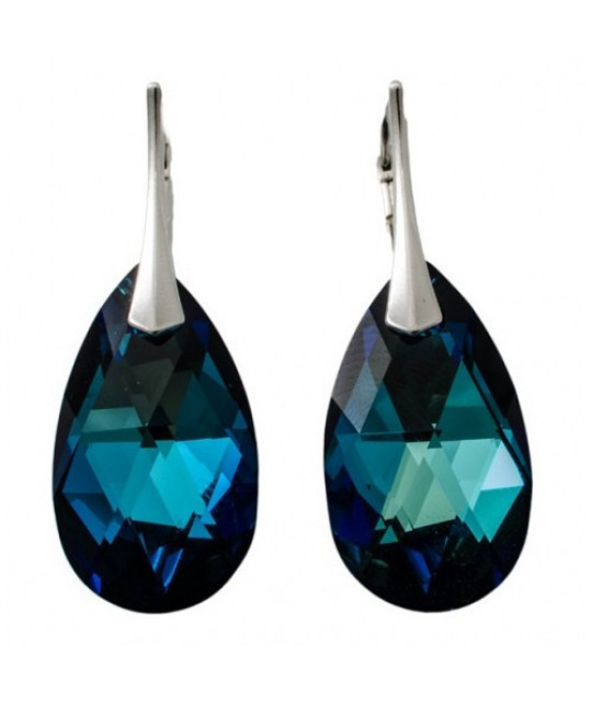 Earrings Pear, Bermuda Blue, 22 mm