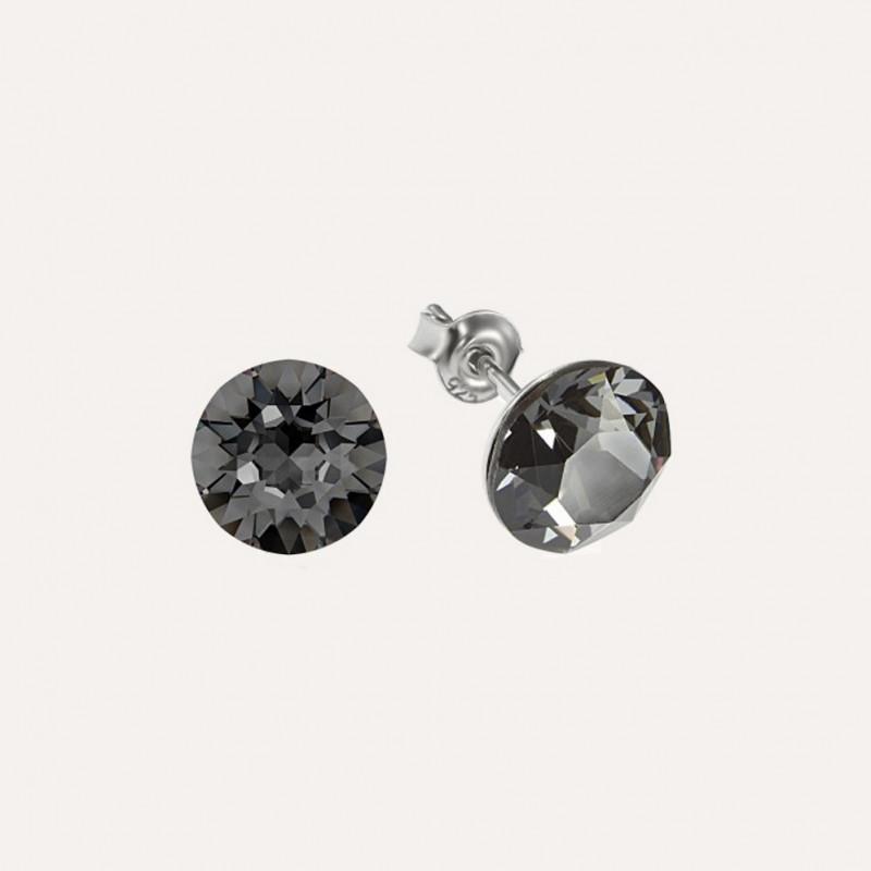 Earrings Xirius, Silver Night, 8 mm