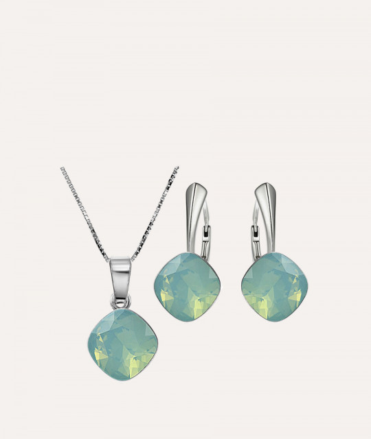 Set of Princess Square: earrings + necklace, Pacific Opal