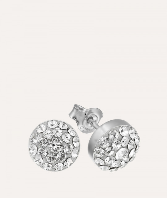 Earrings Chaton Round, Crystal Clear