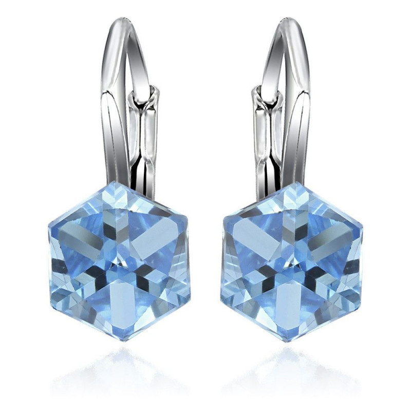 Earrings Cubic, Aquamarine