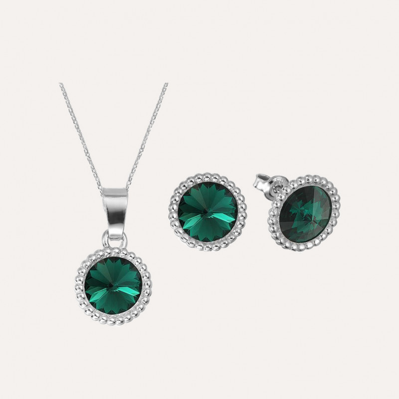 Set of Rivoli Crown: earrings + necklace, Emerald