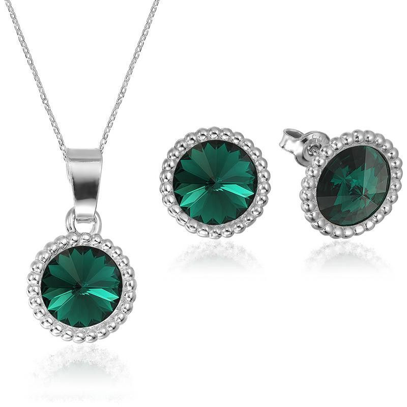Set of Rivoli Crown: earrings + pendant with chain, Emerald