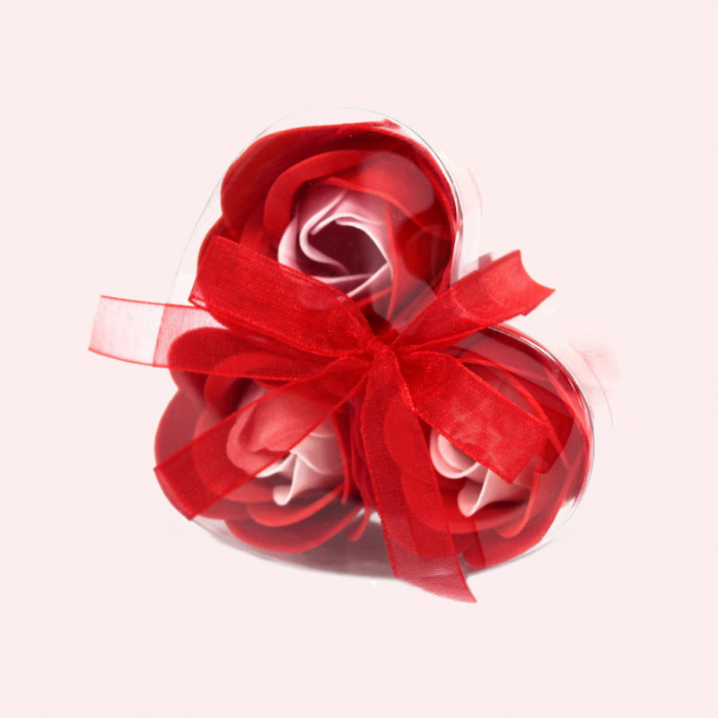Set of 3 Soap Flower in Heart Box - Red Roses