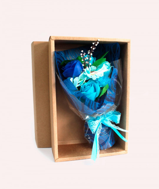 Blue Soap Flower Bouquet - Boxed
