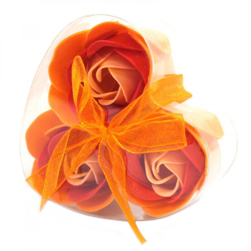 Set of 3 Soap Flower Heart Box - Peach Roses