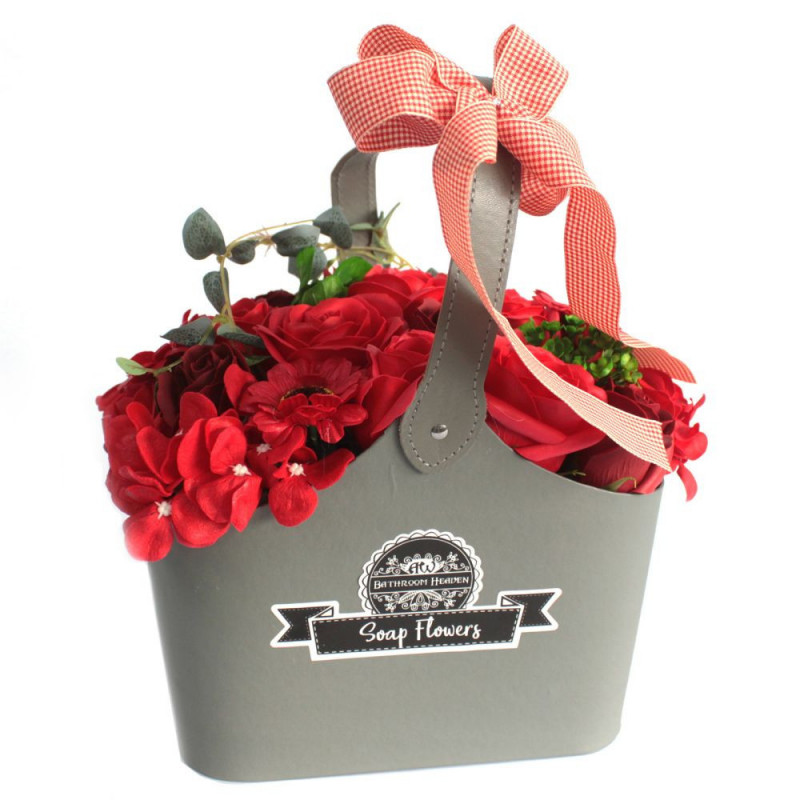 Red Soap Flower Bouquet In Basket
