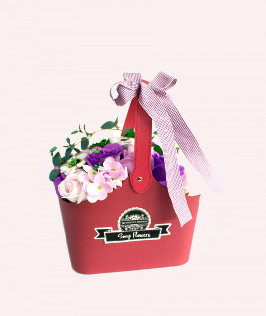 Basket Soap Flower Bouquet - Lilac