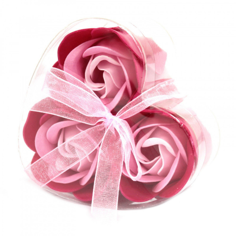 Set of 3 Soap Flower Heart Box - Pink Roses