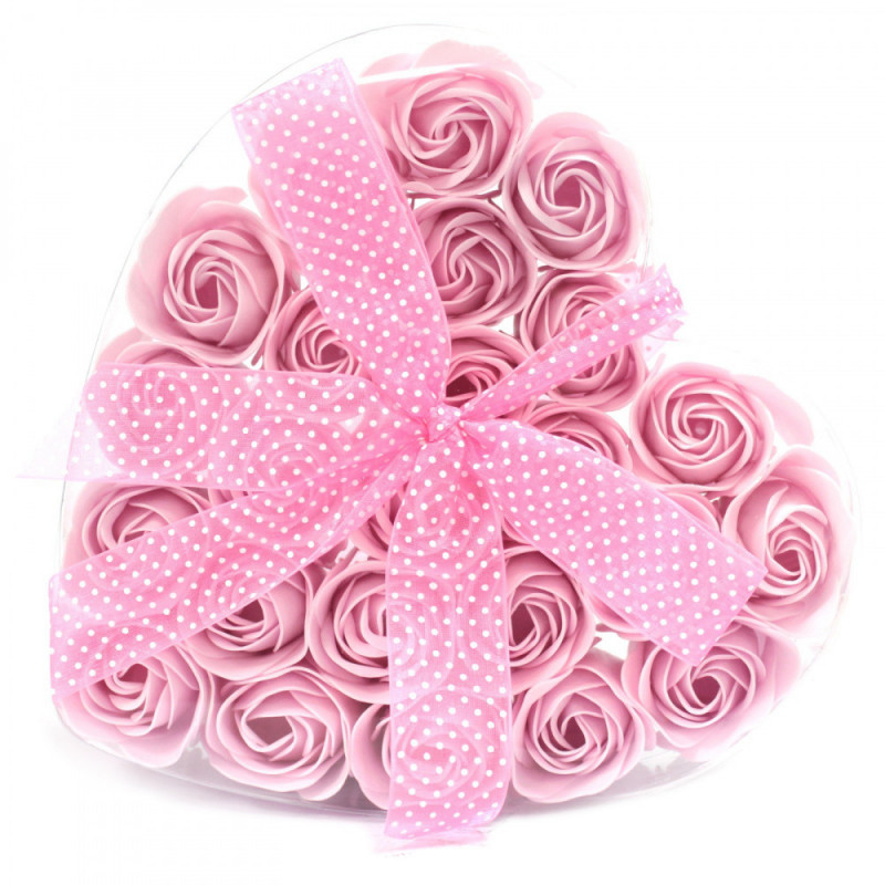 Set of 24 Soap Flower in Heart Box - Pink Roses