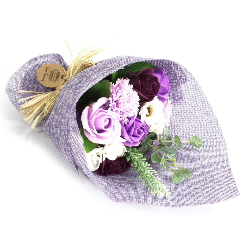 Standing Soap Flower Bouquet - Purple