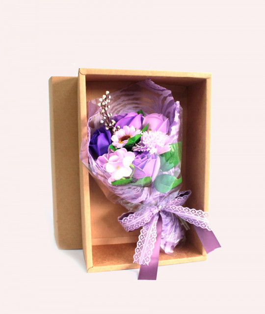 Purple Soap Flower Bouquet - Boxed