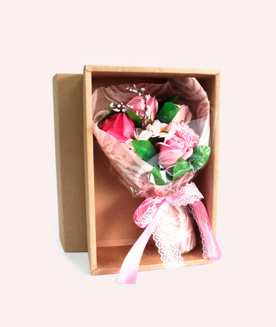 Pink Soap Flower Bouquet - Boxed