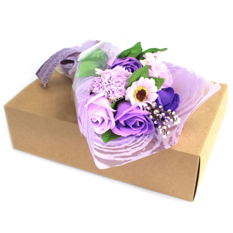 Purple Soap Flower Bouquet - Boxed