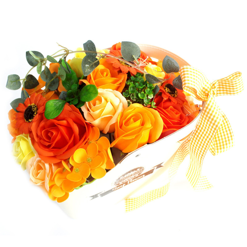 Orange Soap Flower Bouquet in Basket