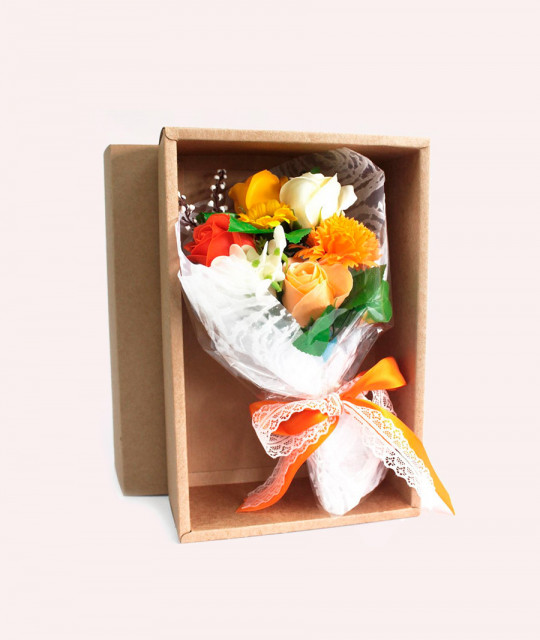 Orange Soap Flower Bouquet - Boxed