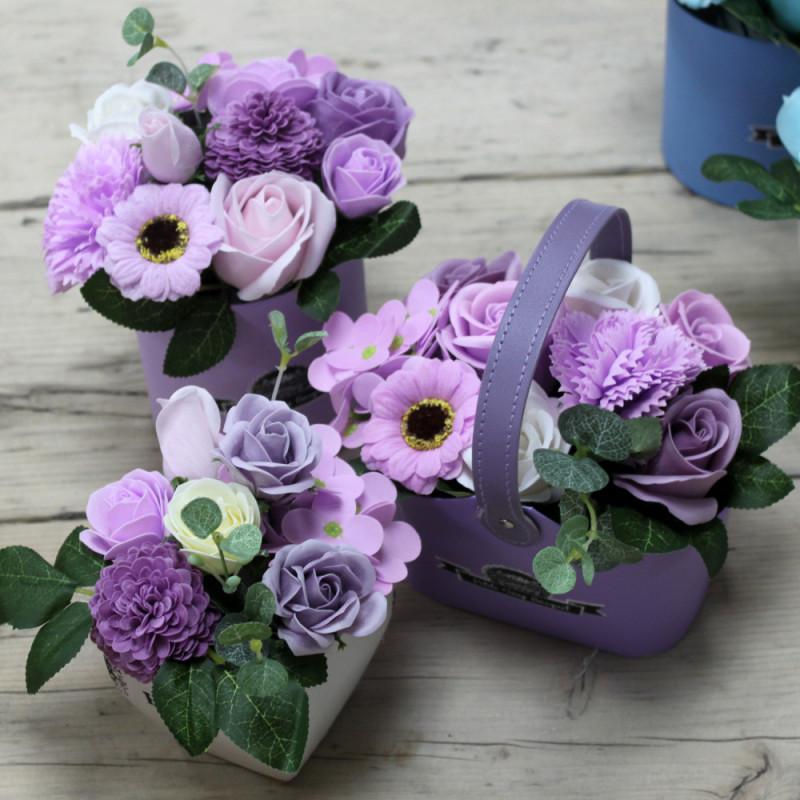Маленькая корзина цветов из мыла, Лаванда