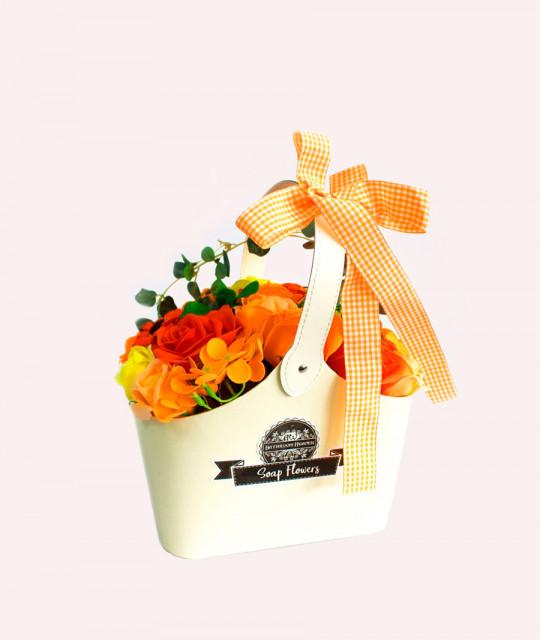 Корзина цветов из мыла, Оранжевый