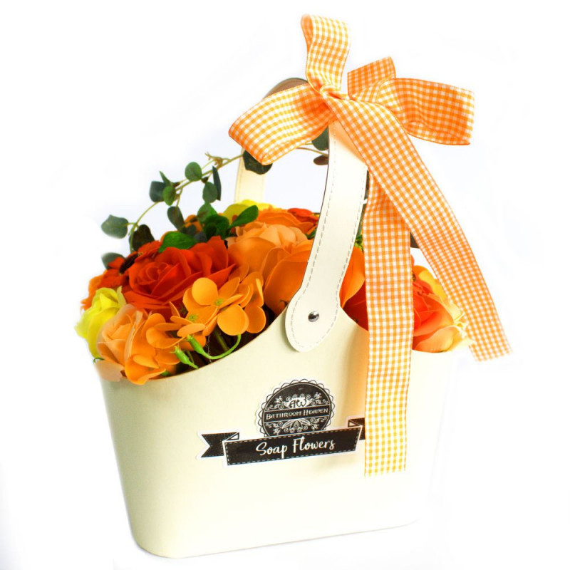 Orange Soap Flower Bouquet in Basket
